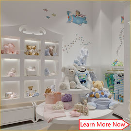 High end fashion wooden white painting kids clothing stores baby girl clothes